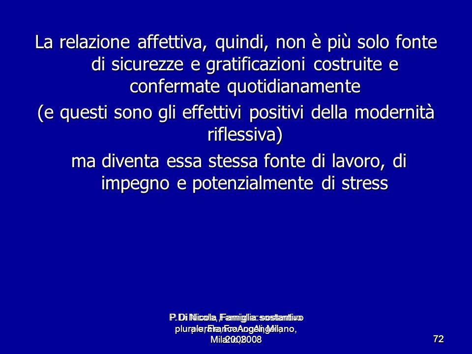 P.Di Nicola, Famiglia: sostantivo plurale, FrancoAngeli, Milano,2008 7272 La relazione affettiva, quindi, non è più solo fonte di sicurezze e gratific