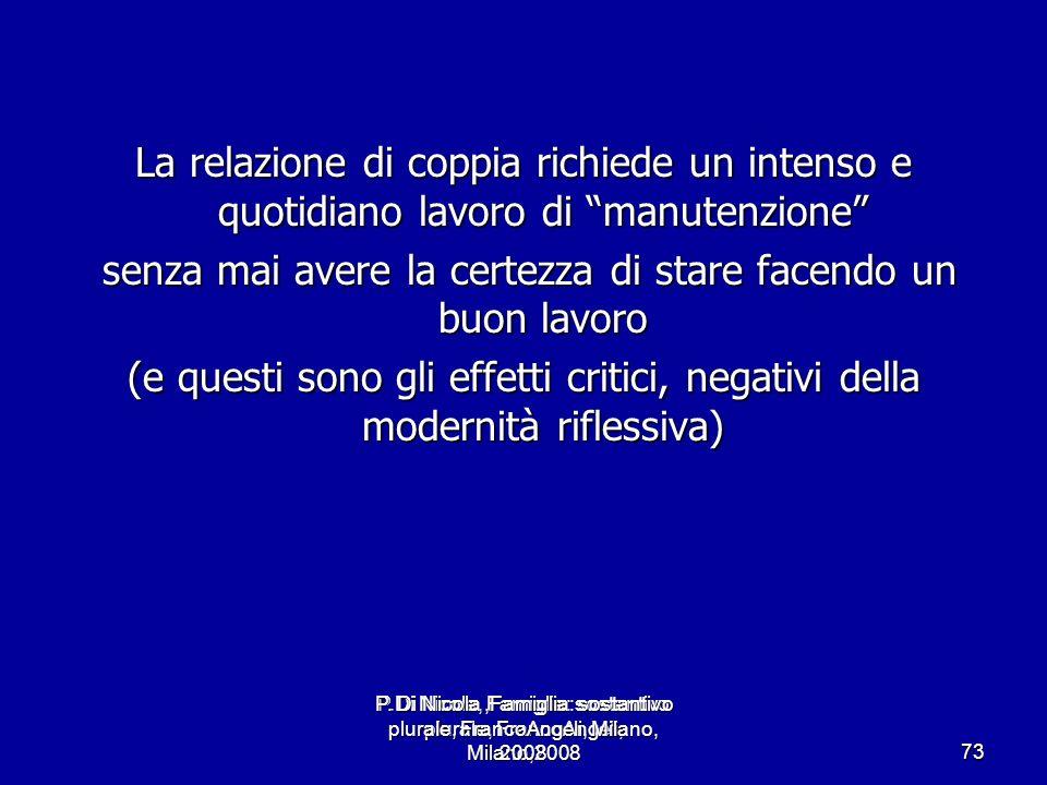 P.Di Nicola, Famiglia: sostantivo plurale, FrancoAngeli, Milano,2008 73 La relazione di coppia richiede un intenso e quotidiano lavoro di manutenzione