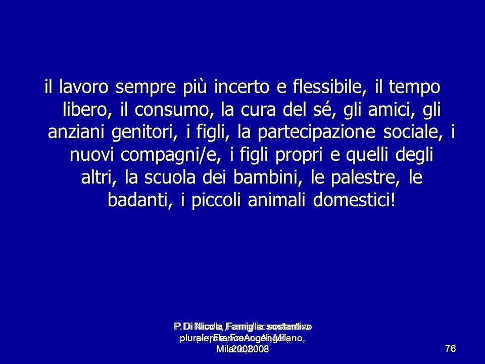 P.Di Nicola, Famiglia: sostantivo plurale, FrancoAngeli, Milano,2008 76 il lavoro sempre più incerto e flessibile, il tempo libero, il consumo, la cur