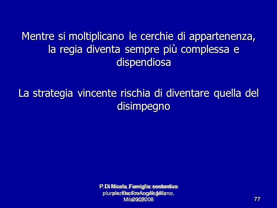 P.Di Nicola, Famiglia: sostantivo plurale, FrancoAngeli, Milano,2008 7777 Mentre si moltiplicano le cerchie di appartenenza, la regia diventa sempre p