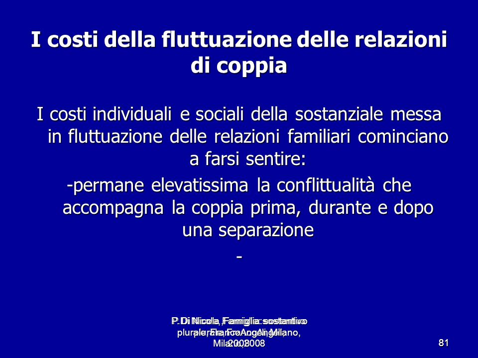 P.Di Nicola, Famiglia: sostantivo plurale, FrancoAngeli, Milano,2008 8181 I costi della fluttuazione delle relazioni di coppia I costi individuali e s