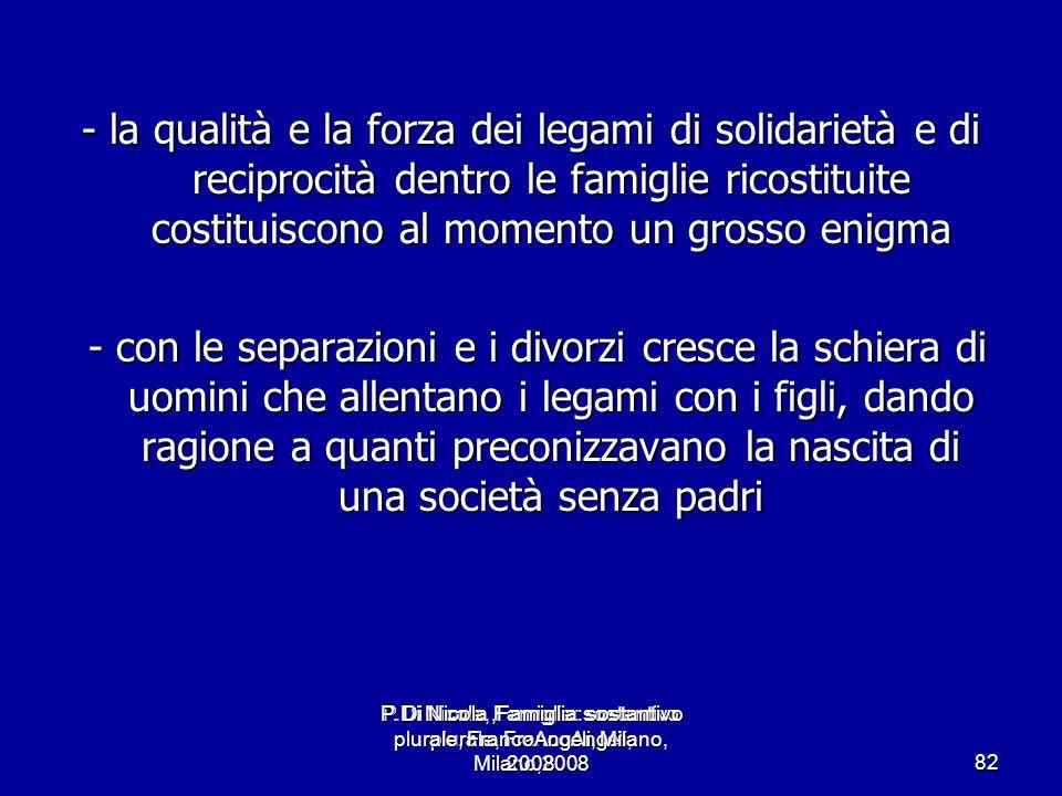 P.Di Nicola, Famiglia: sostantivo plurale, FrancoAngeli, Milano,2008 82 - la qualità e la forza dei legami di solidarietà e di reciprocità dentro le f