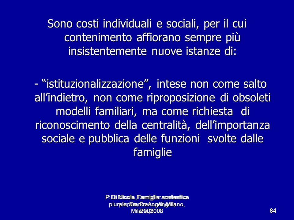 P.Di Nicola, Famiglia: sostantivo plurale, FrancoAngeli, Milano,2008 8484 Sono costi individuali e sociali, per il cui contenimento affiorano sempre p