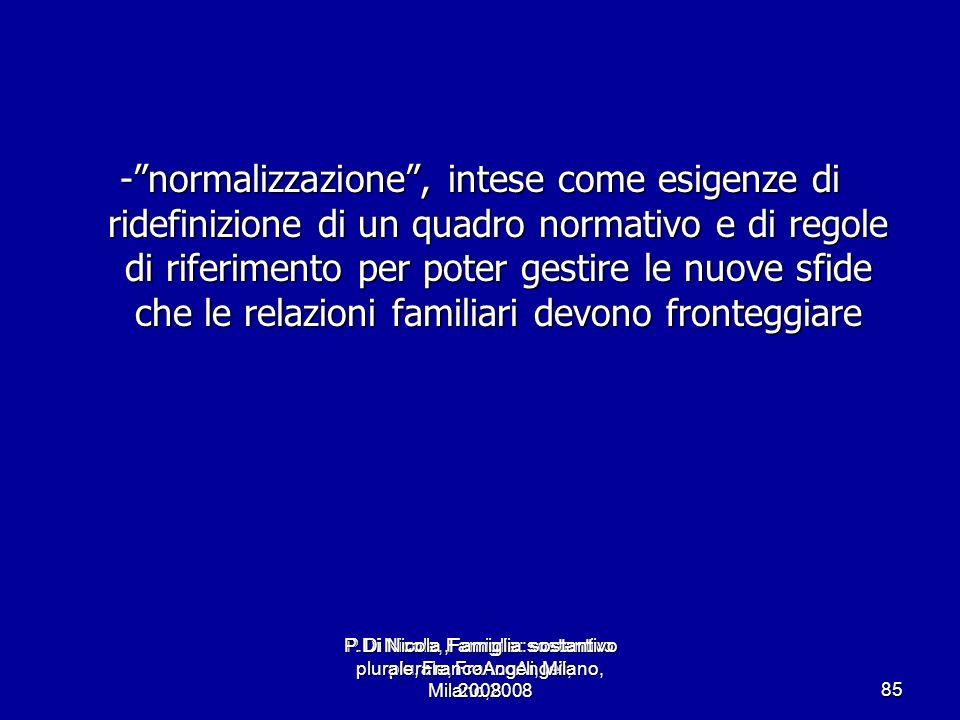 P.Di Nicola, Famiglia: sostantivo plurale, FrancoAngeli, Milano,2008 85 -normalizzazione, intese come esigenze di ridefinizione di un quadro normativo