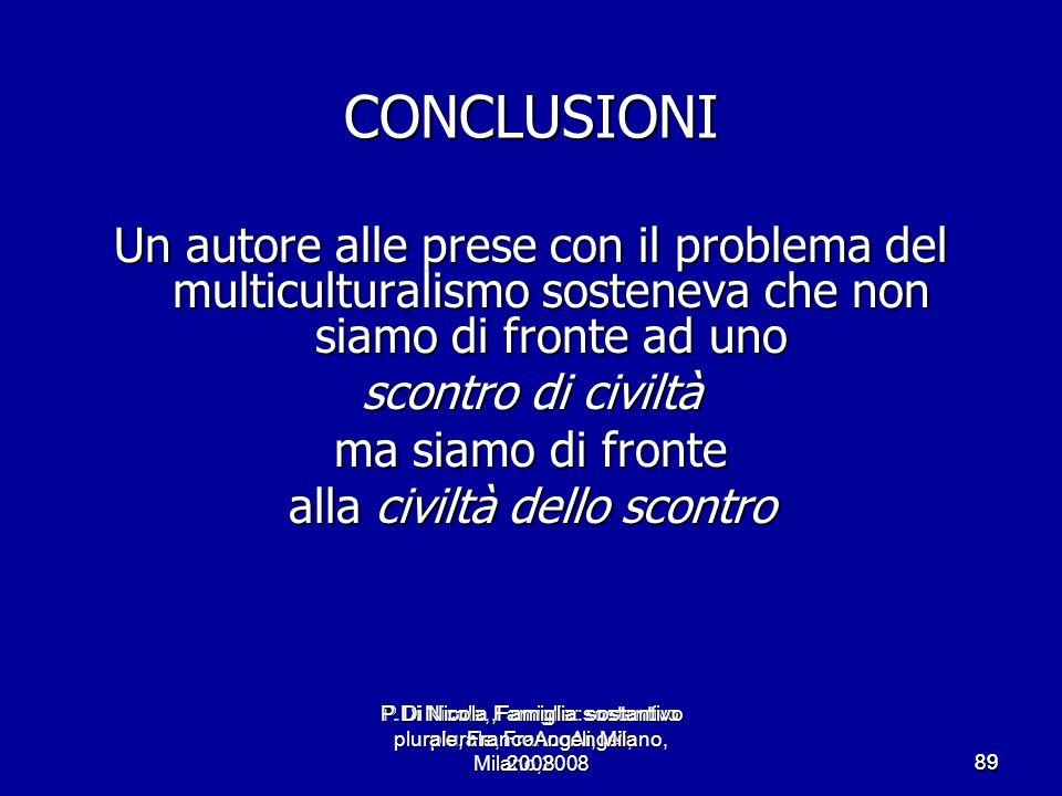 P.Di Nicola, Famiglia: sostantivo plurale, FrancoAngeli, Milano,2008 8989 CONCLUSIONI Un autore alle prese con il problema del multiculturalismo soste