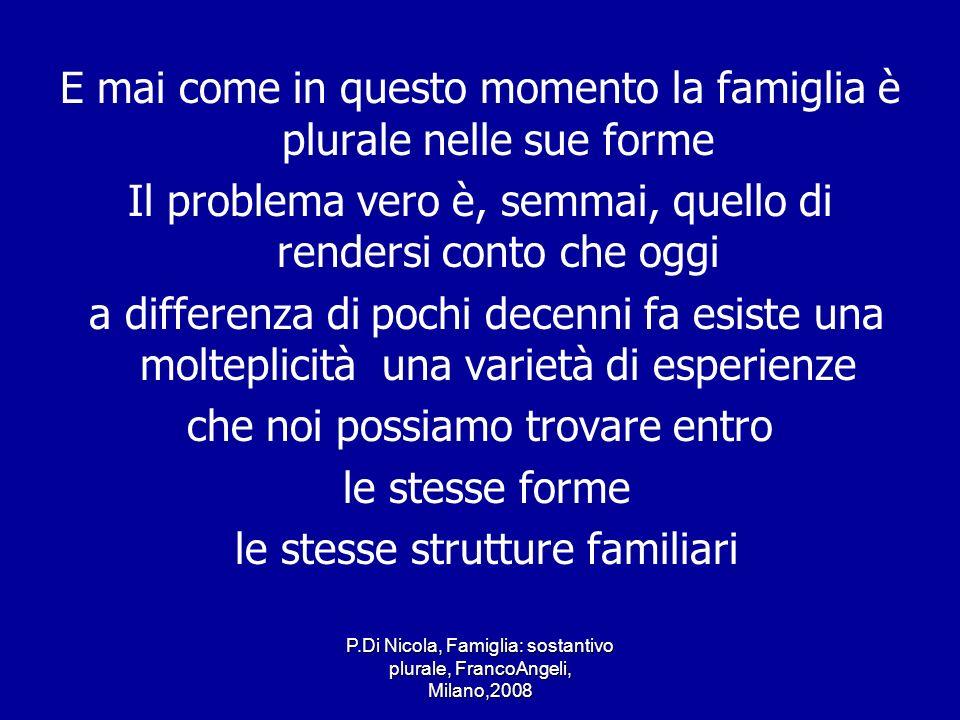P.Di Nicola, Famiglia: sostantivo plurale, FrancoAngeli, Milano,2008 E mai come in questo momento la famiglia è plurale nelle sue forme Il problema ve
