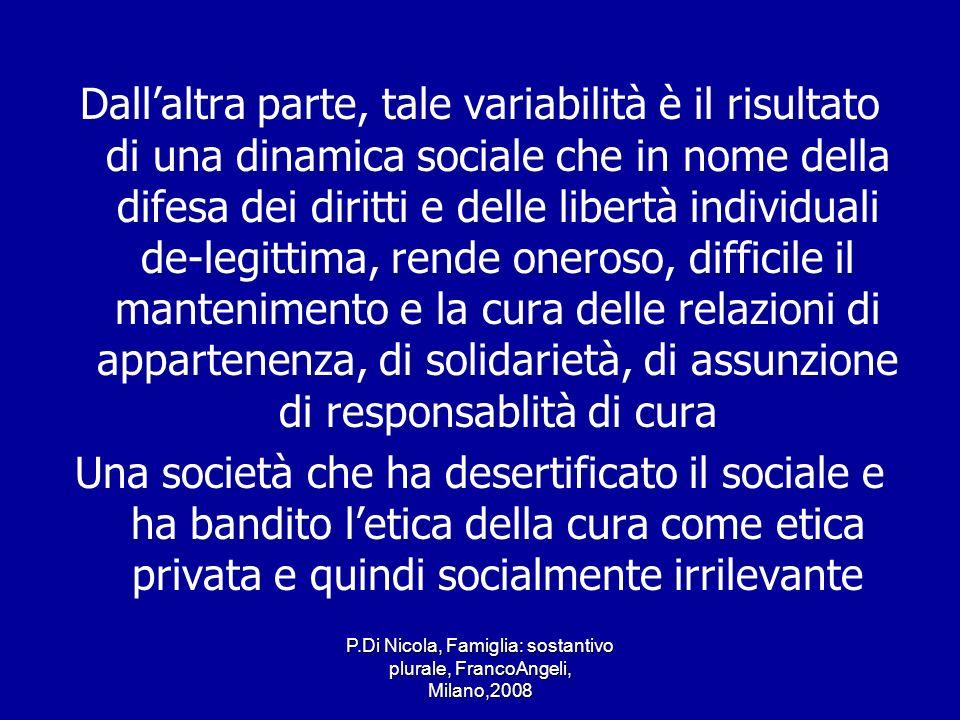 P.Di Nicola, Famiglia: sostantivo plurale, FrancoAngeli, Milano,2008 Dallaltra parte, tale variabilità è il risultato di una dinamica sociale che in n
