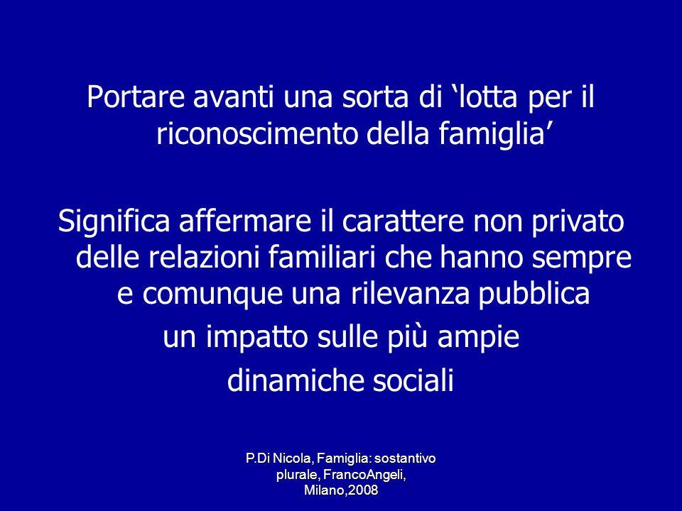 P.Di Nicola, Famiglia: sostantivo plurale, FrancoAngeli, Milano,2008 Portare avanti una sorta di lotta per il riconoscimento della famiglia Significa