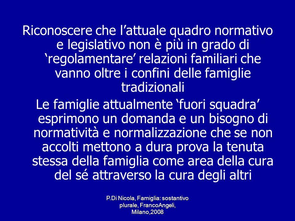 P.Di Nicola, Famiglia: sostantivo plurale, FrancoAngeli, Milano,2008 Riconoscere che lattuale quadro normativo e legislativo non è più in grado di reg