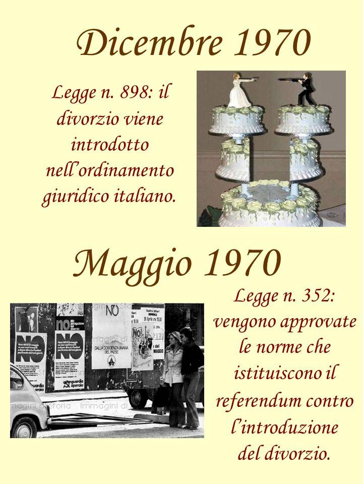 Dicembre 1970 Legge n. 898: il divorzio viene introdotto nellordinamento giuridico italiano. Maggio 1970 Legge n. 352: vengono approvate le norme che