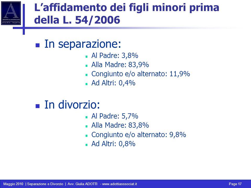 Maggio 2010 | Separazione e Divorzio | Avv. Giulia ADOTTI - www.adottiasssociat.it Page 17 Laffidamento dei figli minori prima della L. 54/2006 In sep
