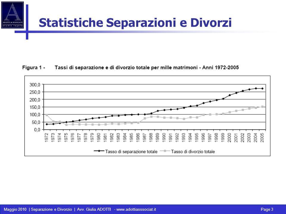 Maggio 2010 | Separazione e Divorzio | Avv. Giulia ADOTTI - www.adottiasssociat.it Page 3 Statistiche Separazioni e Divorzi