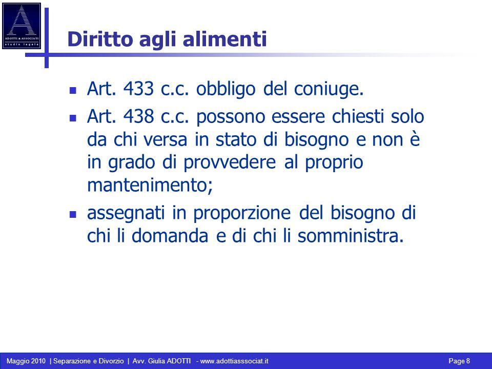 Maggio 2010 | Separazione e Divorzio | Avv. Giulia ADOTTI - www.adottiasssociat.it Page 8 Diritto agli alimenti Art. 433 c.c. obbligo del coniuge. Art