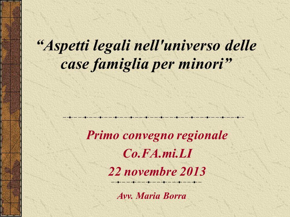 Aspetti legali nell'universo delle case famiglia per minori Primo convegno regionale Co.FA.mi.LI 22 novembre 2013 Avv. Maria Borra