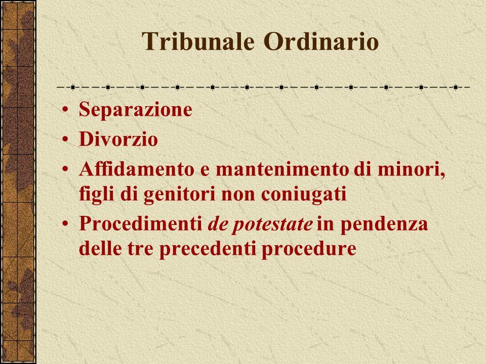 Tribunale Ordinario Separazione Divorzio Affidamento e mantenimento di minori, figli di genitori non coniugati Procedimenti de potestate in pendenza d