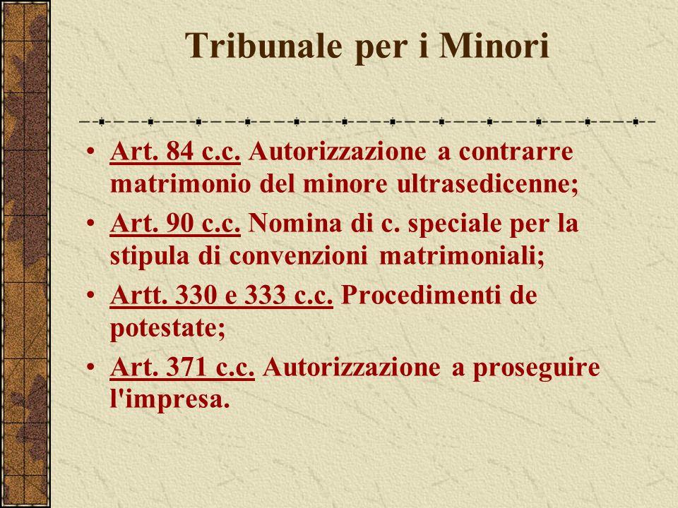 Tribunale per i Minori Art. 84 c.c. Autorizzazione a contrarre matrimonio del minore ultrasedicenne; Art. 90 c.c. Nomina di c. speciale per la stipula