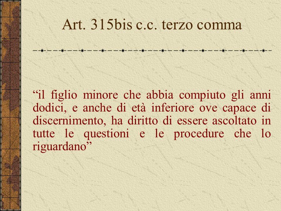 Art. 315bis c.c. terzo comma il figlio minore che abbia compiuto gli anni dodici, e anche di età inferiore ove capace di discernimento, ha diritto di