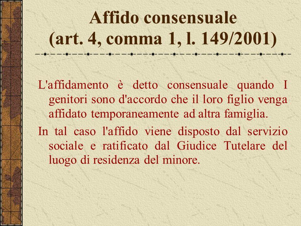 Affido consensuale (art. 4, comma 1, l. 149/2001) L'affidamento è detto consensuale quando I genitori sono d'accordo che il loro figlio venga affidato