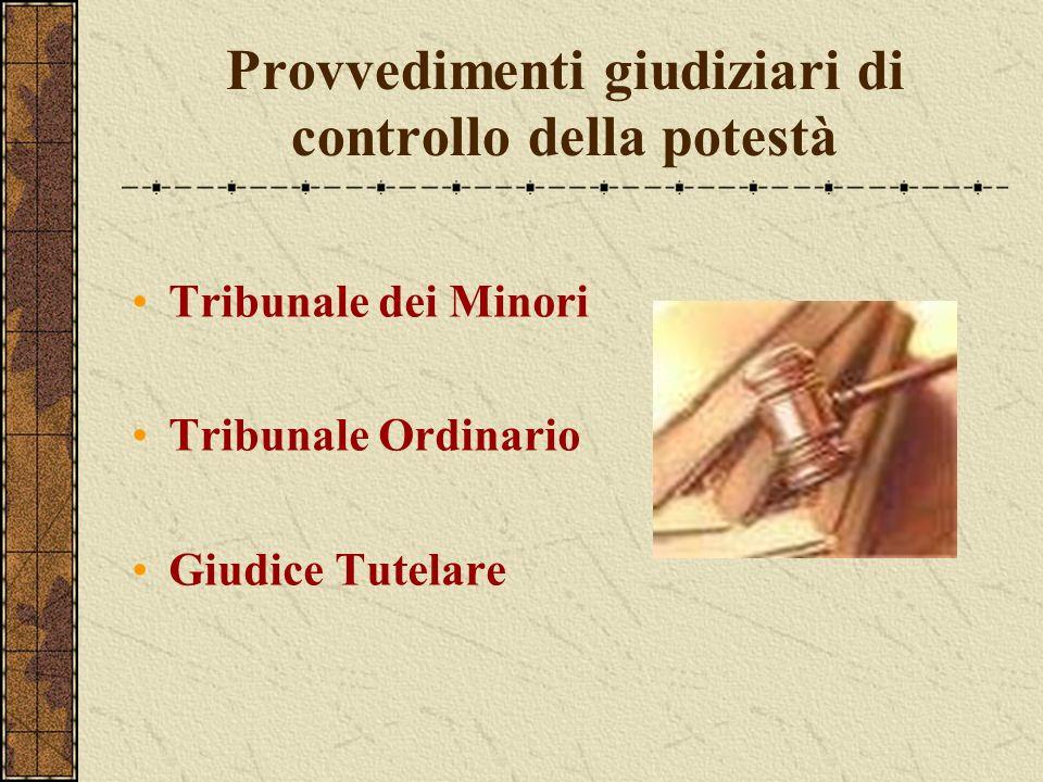Provvedimenti giudiziari di controllo della potestà Tribunale dei Minori Tribunale Ordinario Giudice Tutelare