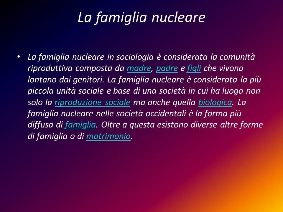 La famiglia nucleare La famiglia nucleare in sociologia è considerata la comunità riproduttiva composta da madre, padre e figli che vivono lontano dai