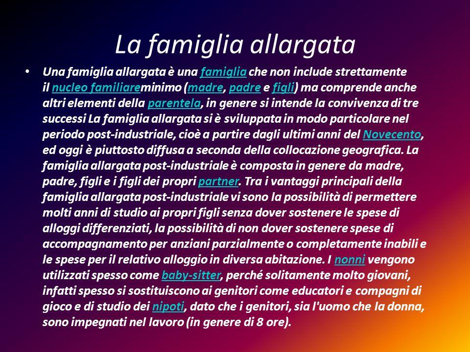 La famiglia allargata Una famiglia allargata è una famiglia che non include strettamente il nucleo familiareminimo (madre, padre e figli) ma comprende