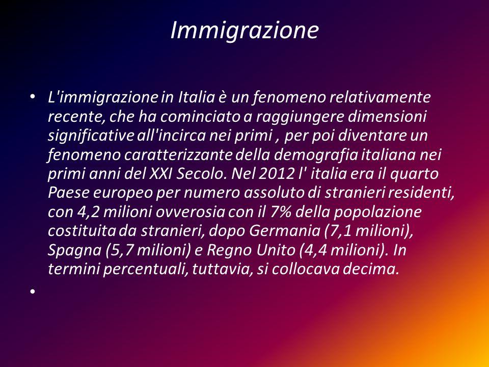 Immigrazione L'immigrazione in Italia è un fenomeno relativamente recente, che ha cominciato a raggiungere dimensioni significative all'incirca nei pr