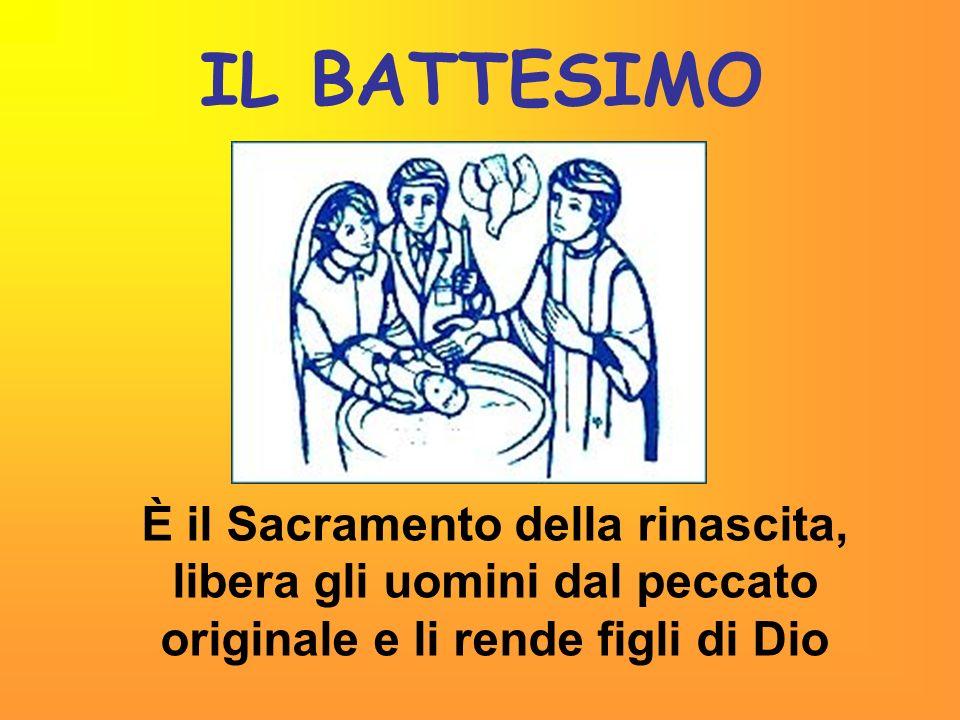 IL BATTESIMO È il Sacramento della rinascita, libera gli uomini dal peccato originale e li rende figli di Dio