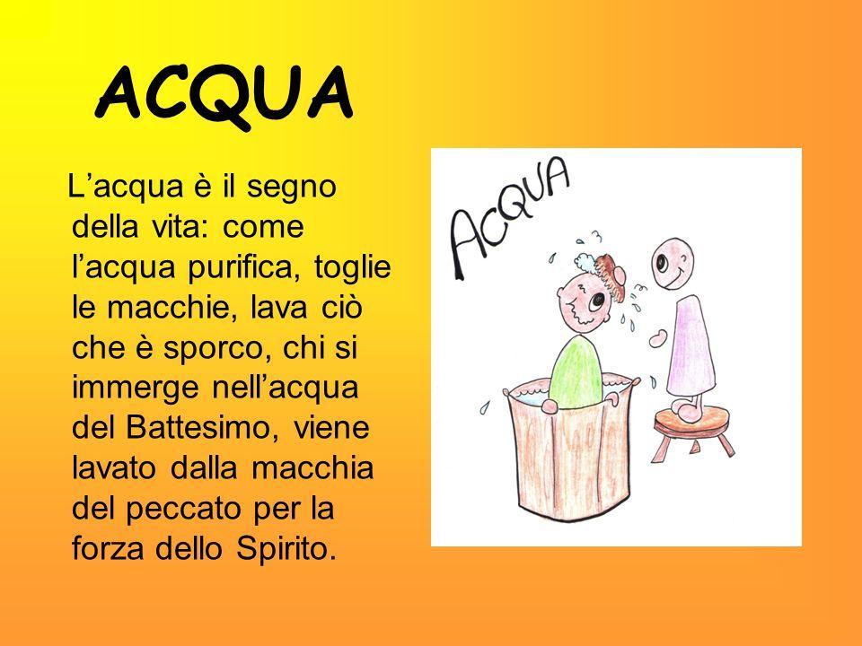 ACQUA Lacqua è il segno della vita: come lacqua purifica, toglie le macchie, lava ciò che è sporco, chi si immerge nellacqua del Battesimo, viene lava