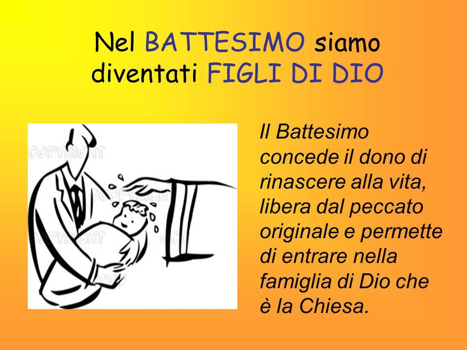 Nel BATTESIMO siamo diventati FIGLI DI DIO Il Battesimo concede il dono di rinascere alla vita, libera dal peccato originale e permette di entrare nel