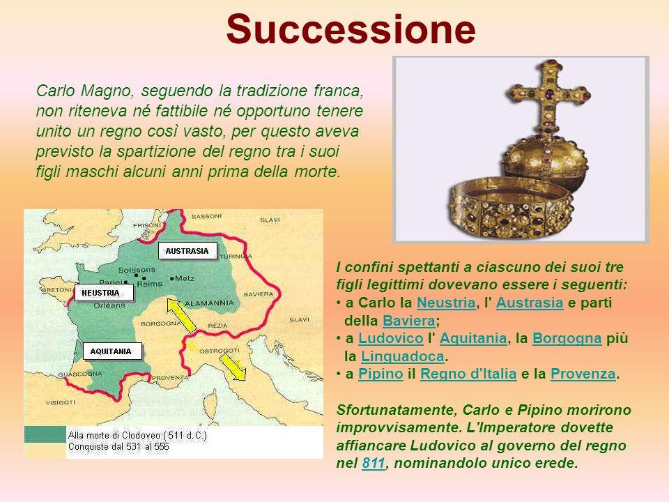 Successione Carlo Magno, seguendo la tradizione franca, non riteneva né fattibile né opportuno tenere unito un regno così vasto, per questo aveva prev