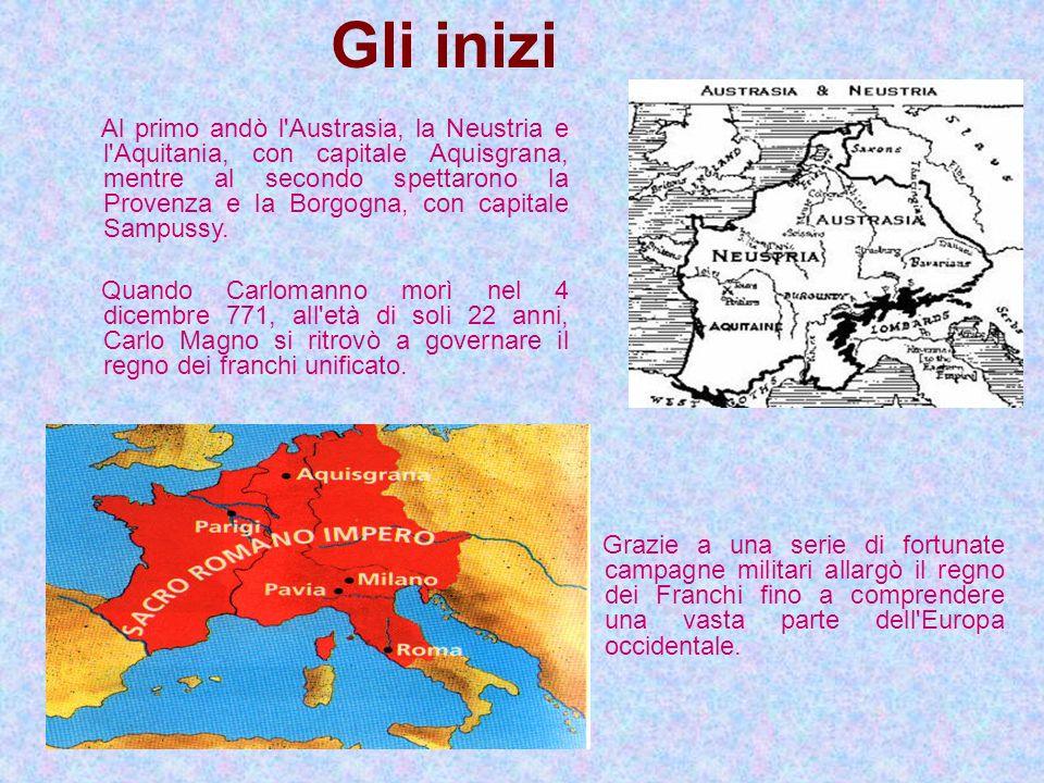 Gli inizi Al primo andò l'Austrasia, la Neustria e l'Aquitania, con capitale Aquisgrana, mentre al secondo spettarono la Provenza e la Borgogna, con c