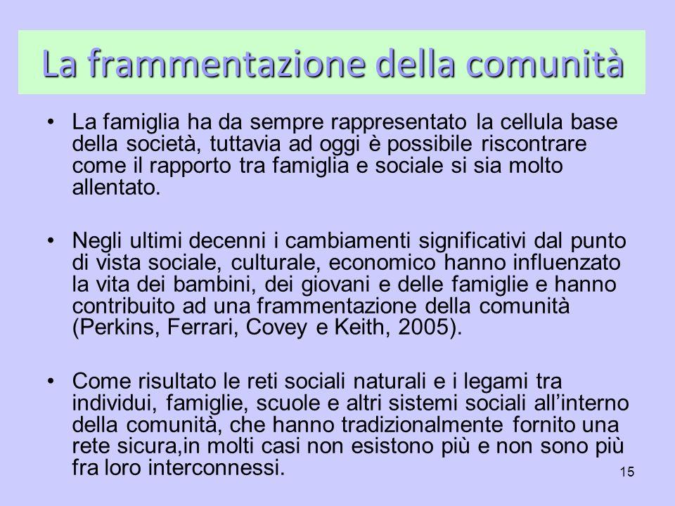 15 La frammentazione della comunità La famiglia ha da sempre rappresentato la cellula base della società, tuttavia ad oggi è possibile riscontrare com