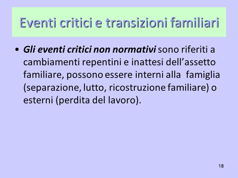 18 Eventi critici e transizioni familiari Gli eventi critici non normativi sono riferiti a cambiamenti repentini e inattesi dellassetto familiare, pos