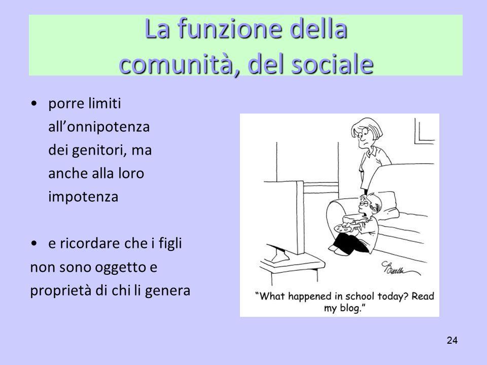 24 La funzione della comunità, del sociale porre limiti allonnipotenza dei genitori, ma anche alla loro impotenza e ricordare che i figli non sono ogg