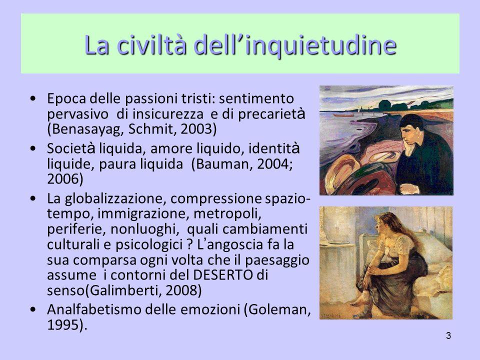 3 La civiltà dellinquietudine Epoca delle passioni tristi: sentimento pervasivo di insicurezza e di precariet à (Benasayag, Schmit, 2003) Societ à liq