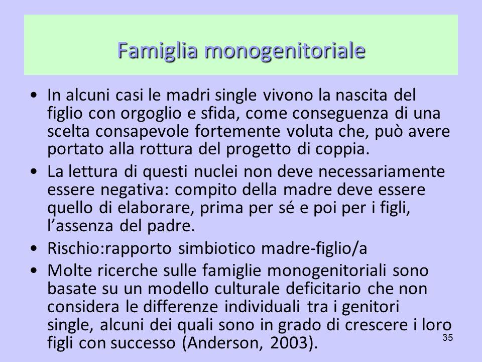 35 Famiglia monogenitoriale In alcuni casi le madri single vivono la nascita del figlio con orgoglio e sfida, come conseguenza di una scelta consapevo