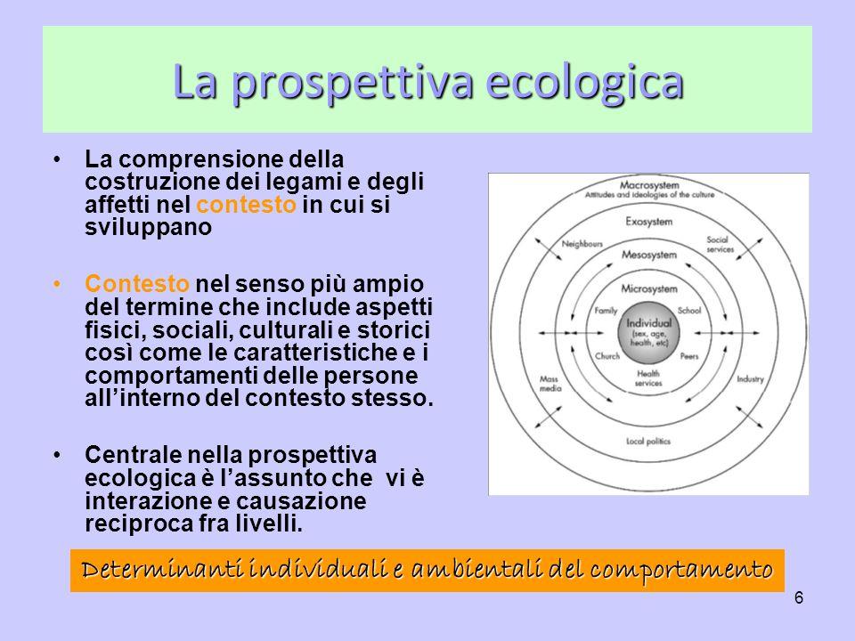 6 La prospettiva ecologica La comprensione della costruzione dei legami e degli affetti nel contesto in cui si sviluppano Contesto nel senso più ampio