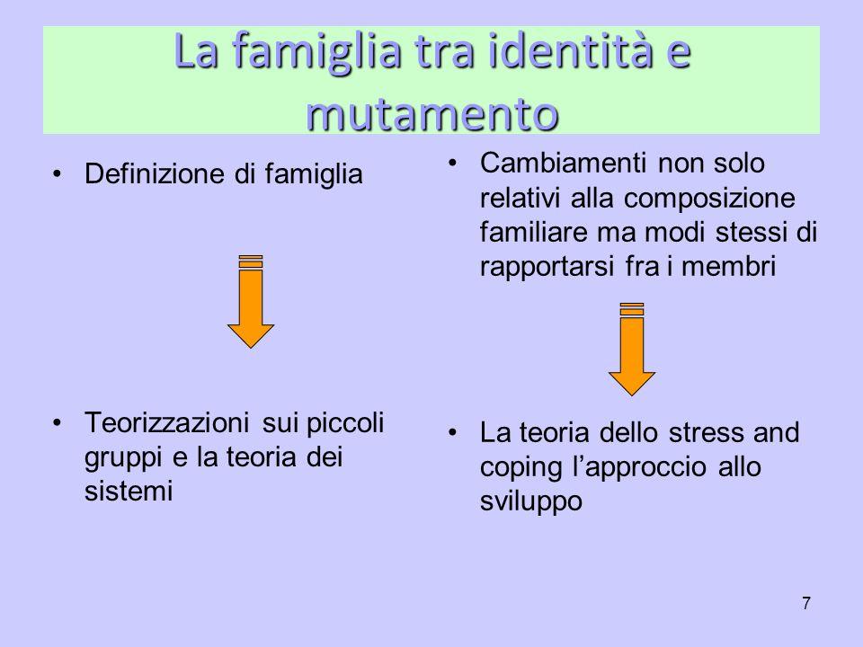 7 La famiglia tra identità e mutamento Definizione di famiglia Teorizzazioni sui piccoli gruppi e la teoria dei sistemi Cambiamenti non solo relativi