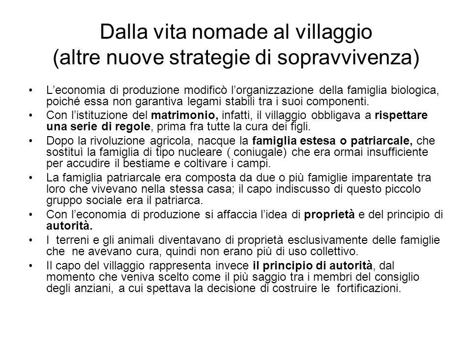 Dalla vita nomade al villaggio (altre nuove strategie di sopravvivenza) Leconomia di produzione modificò lorganizzazione della famiglia biologica, poi