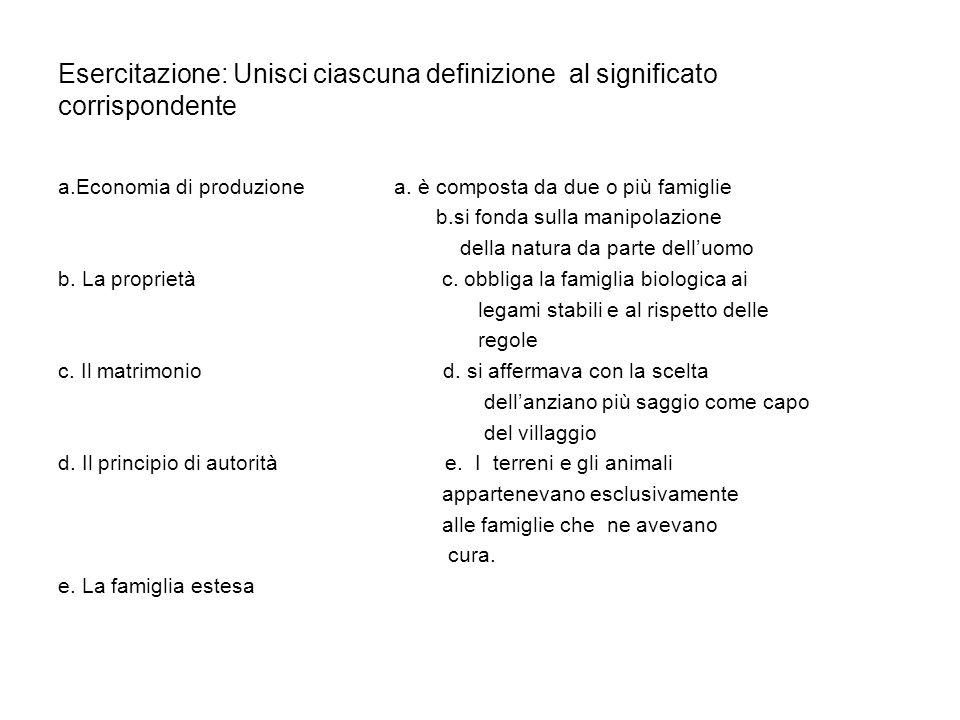 Esercitazione: Unisci ciascuna definizione al significato corrispondente a.Economia di produzione a. è composta da due o più famiglie b.si fonda sulla