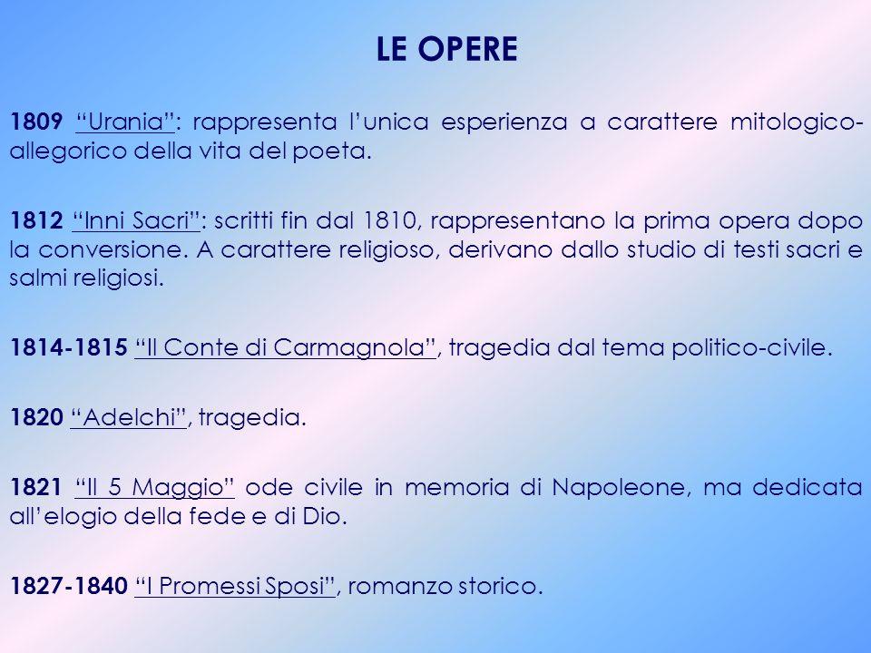 BIOGRAFIA 1785 nasce a Milano: figlio unico di Giulia Beccaria (figlia di Cesare Beccaria) e di Pietro Manzoni. La sua prima formazione intellettuale