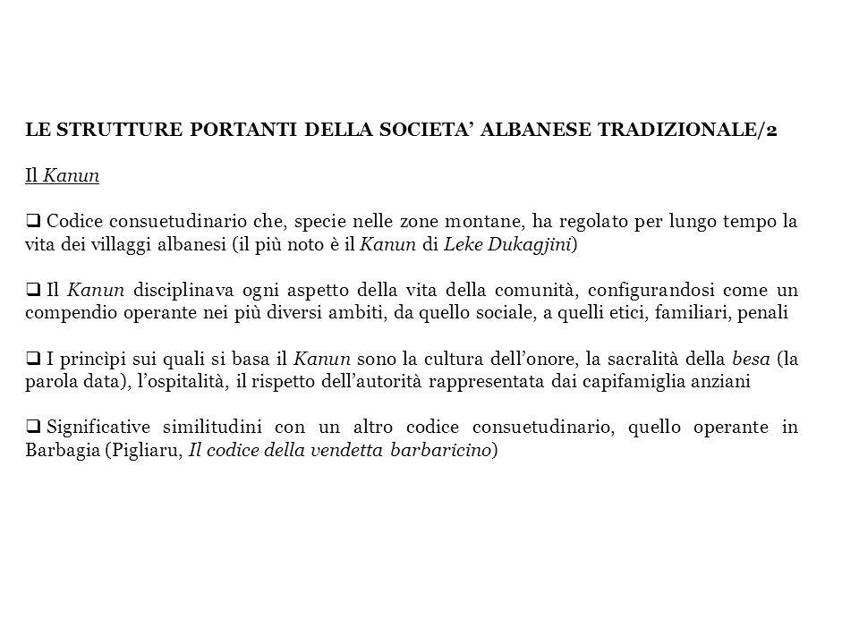 LE STRUTTURE PORTANTI DELLA SOCIETA ALBANESE TRADIZIONALE/2 Il Kanun Codice consuetudinario che, specie nelle zone montane, ha regolato per lungo temp