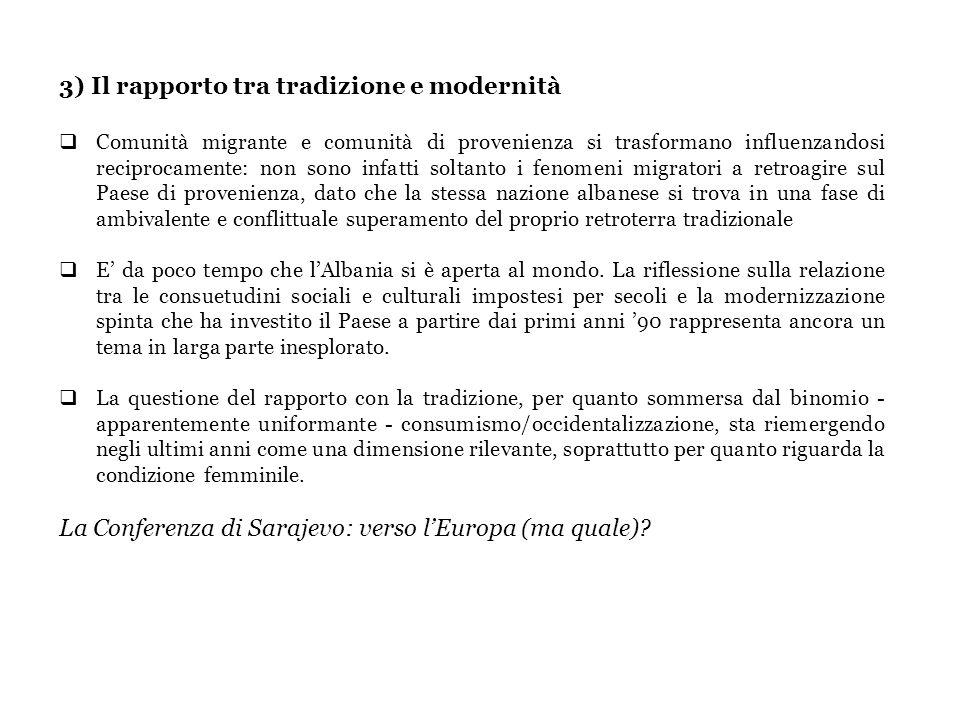 3) Il rapporto tra tradizione e modernità Comunità migrante e comunità di provenienza si trasformano influenzandosi reciprocamente: non sono infatti s