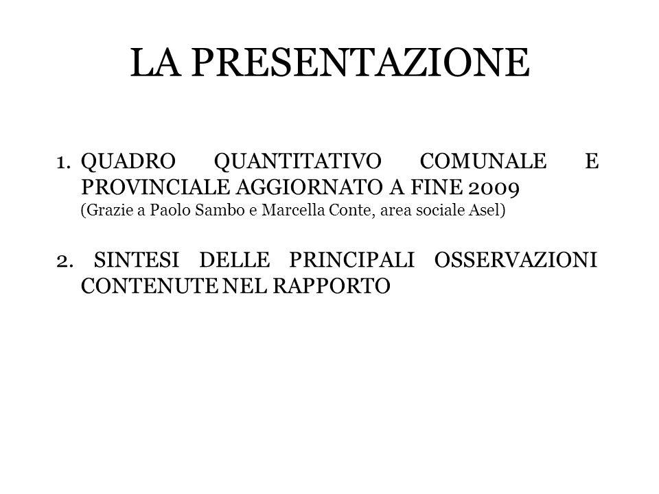 LA PRESENTAZIONE 1.QUADRO QUANTITATIVO COMUNALE E PROVINCIALE AGGIORNATO A FINE 2009 (Grazie a Paolo Sambo e Marcella Conte, area sociale Asel) 2. SIN
