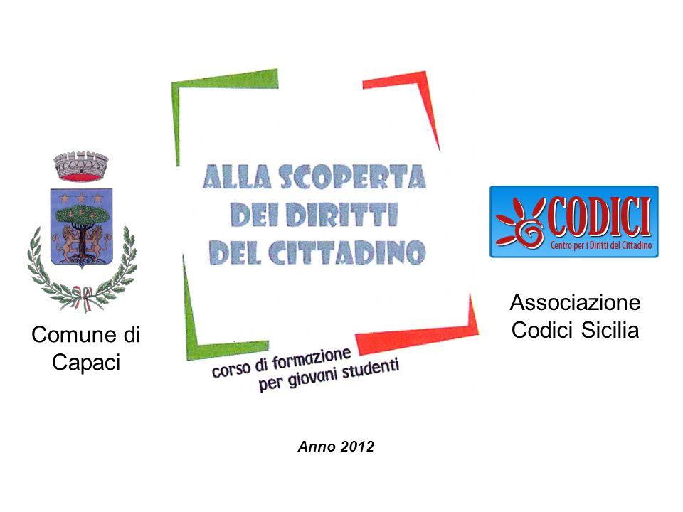 Comune di Capaci Anno 2012 Associazione Codici Sicilia