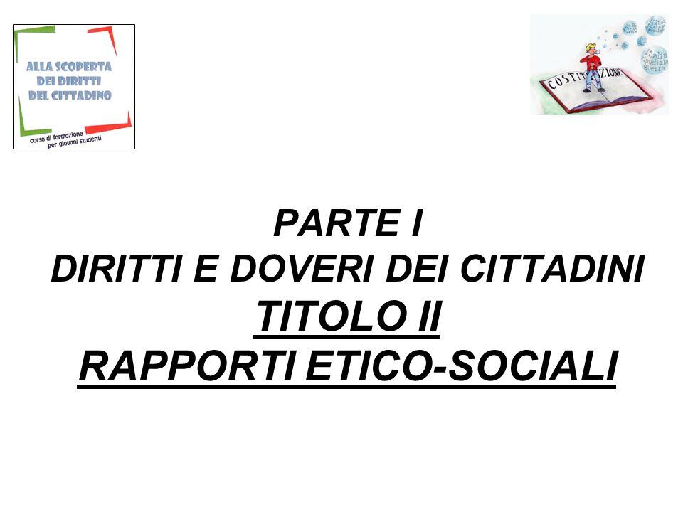 PARTE I DIRITTI E DOVERI DEI CITTADINI TITOLO II RAPPORTI ETICO-SOCIALI