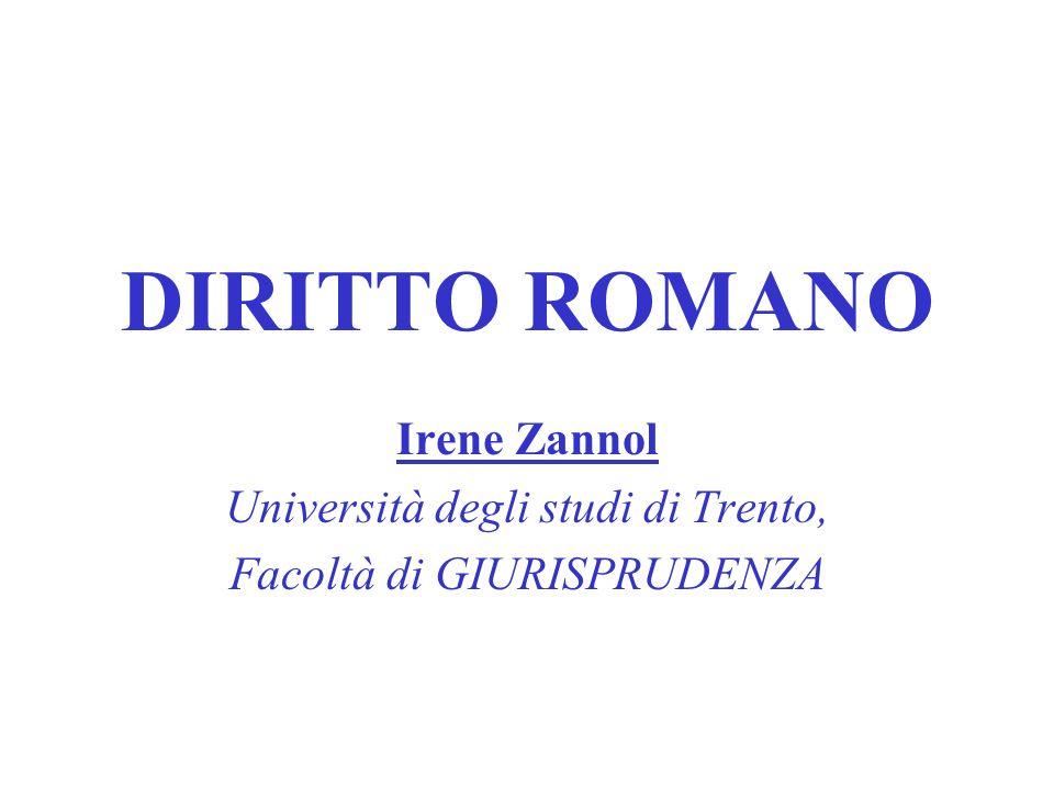 DIRITTO ROMANO Irene Zannol Università degli studi di Trento, Facoltà di GIURISPRUDENZA