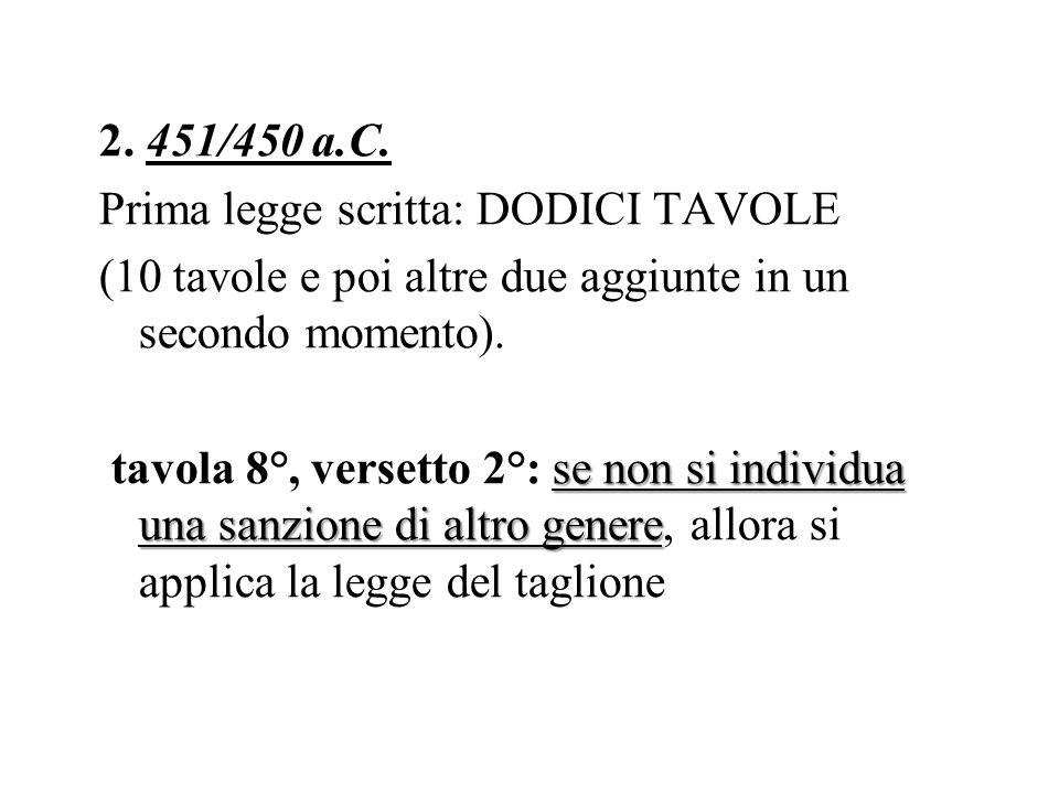 2. 451/450 a.C. Prima legge scritta: DODICI TAVOLE (10 tavole e poi altre due aggiunte in un secondo momento). se non si individua una sanzione di alt