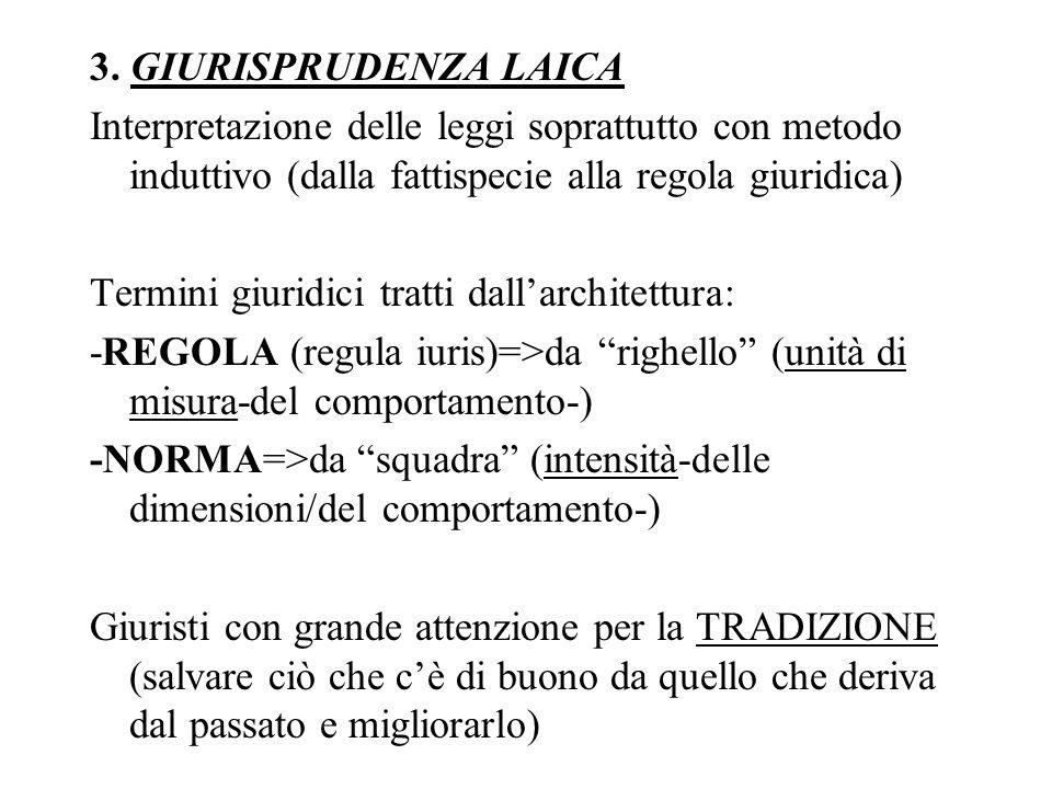 3. GIURISPRUDENZA LAICA Interpretazione delle leggi soprattutto con metodo induttivo (dalla fattispecie alla regola giuridica) Termini giuridici tratt