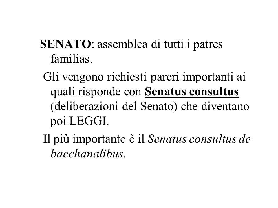 SENATO: assemblea di tutti i patres familias. Gli vengono richiesti pareri importanti ai quali risponde con Senatus consultus (deliberazioni del Senat